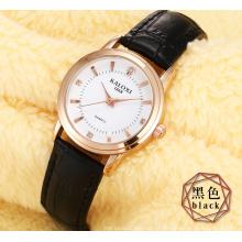 Relógio de senhoras de moda com pulseira de couro colorido de caso de relógio Rosegold