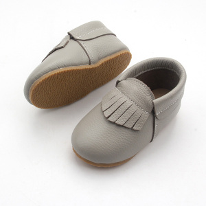 Kids Moccasin Shoes Hard Sole Leather Children