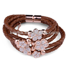 NH00777 genuine leather magnetic clasp bracelet