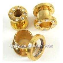 Gold plated jewelry custom plug body jewelry novelty ear plug