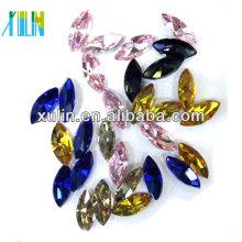 Heißer Verkauf Marquise Bunte Form Edelstein facettierten Kristallglas Kleidung Kleidungsstück verziert Perlen