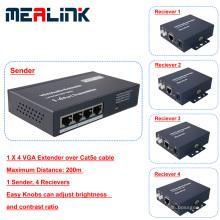 1 a 4 200m sobre Cat5e Cable VGA Extender