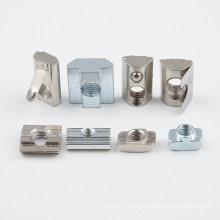 European Standard 20 Series Aluminum Profile Extrusion Carbon Steel Half Round Roll In T Spring Nuts M6 Thread