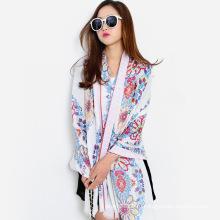 Мода цветок печатных женщин вискоза Шелковый шарф (YKY1150)