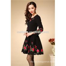Otoño Invierno Moda de manga larga de algodón bordado vestido china fabricante vestidos