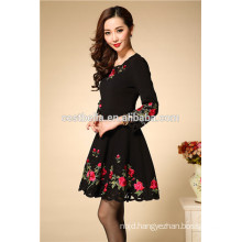 Autumn Winter Fashion long sleeve cotton embroidered dress china manufacturer vestidos