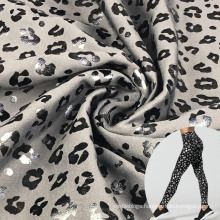 foil stamp dry fit textile stretch knitted polyester leopard printed fabric for sports