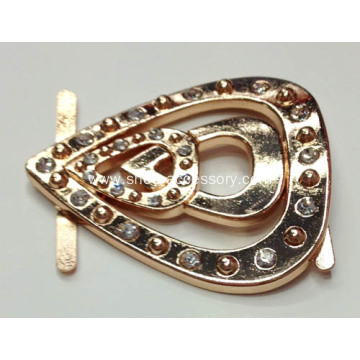 Big Water-Drop Metal Shoe Buckles with Rhinestone