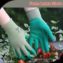 SRSAFETY 13G вязаный нейлоновый вкладыш с покрытием из пенопласта латексные перчатки / латексные перчатки цена china поставщики бесплатный образец
