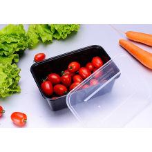 Envase de comida plástico rectangular negro disponible con la tapa