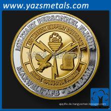 Customizecoins, benutzerdefinierte Metall Alabama Einheit Herausforderung Münze in reinem Silber mit Vergoldung