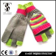 100% de rayas acrílico 5 dedos tejidos invierno guantes de niña