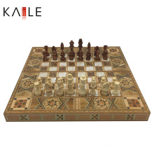 Luxury 3 in 1 Wooden Chess Board Game Set Pieces