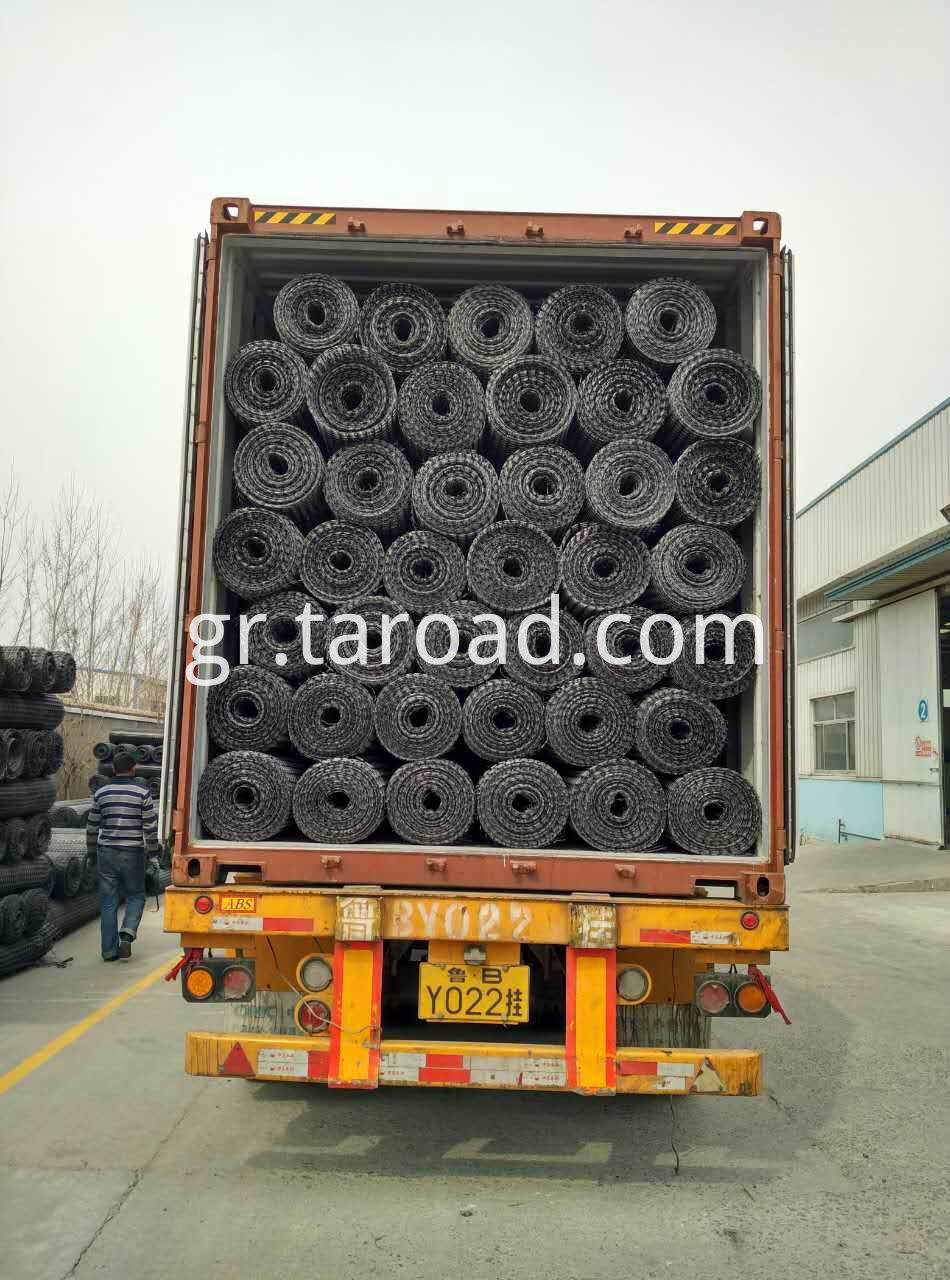 Loading PP Biaxial Geogrid for road construction