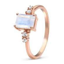 925 Sterling Silver Rose Gold Plated Moonstone Engagement Ring