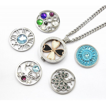 Fashion 316L Stainless Steel Living Locket Necklace with Interchangeable Coines