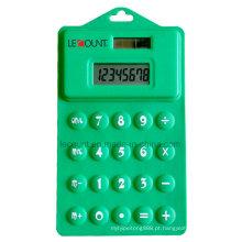 8 dígitos 14,5 centímetros dupla potência silício dobrável suave calculadora com furo pendurado (LC514)