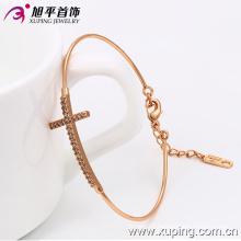 Fashion Jewelry Rose Gold- Plated Delicate Cubic Zirconia Cross Bangle