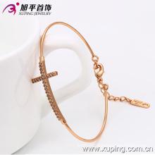 Jóia de moda rosa banhado a ouro pulseira de zircônia cúbica delicado
