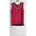 Ladies 100% Viscose Pure Colour Striped Sleeveless Sweater