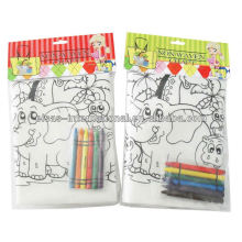 coloring me pp non-woven bag with crayon hand bags