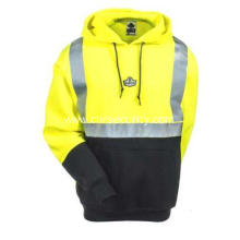 Unisex Hi Vis LimeBlack Hooded Safety Sweatshirt