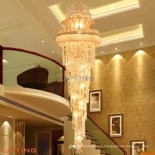 Hot moderne pendentif en cristal lampe hôtel longue hauteur lustre en cristal pendentif lampe pour escaliers 98113