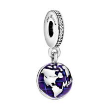 Fashion 925 Sterling Silver Blue Planet Pendant Charm World Globe Globe Round Pendant Bead Quality DIY