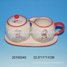 Lovely Keramik Affe Zucker und Sahne gesetzt