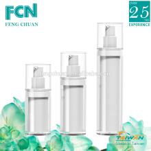 Vacío de lujo sin aire de cuidado de la piel blanco cosmético vacío botella de plástico de embalaje