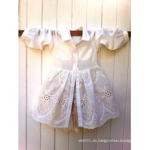 Ropa de niños Algodón para niños Broderie Anglaise Lace Shirt Dress