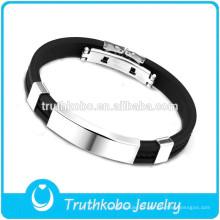 Bracelete de prata de aço inoxidável relativo à promoção da prata das etiquetas da venda quente da pulseira de couro dos homens