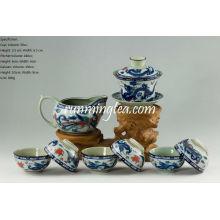Tradicional Dragão & Phenix Tea Set-1 Gaiwan, 1 Lançador e 6 Copas