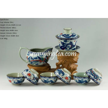 Traditional Dragon & Phenix Tea Set- 1 Gaiwan, 1 Pitcher and 6 Cups