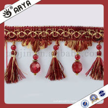 Beads Polyester Curtain Trims Bullion Tassel Fringe Hangzhou Decorative Adornos