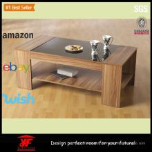 Table basse contemporaine en bois et thé