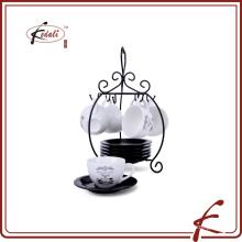 Xícara e pires porcelana café conjunto com suporte de ferro