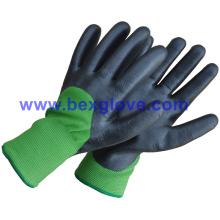 Revêtement thermique acrylique 7 Gauge Plus, doublure extérieure en nylon 13G, revêtement nitrile, 3/4, gant de finition mousse