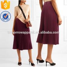 Saia de midi plisse-twillFabric de atacado moda feminina roupas (TA3013S)