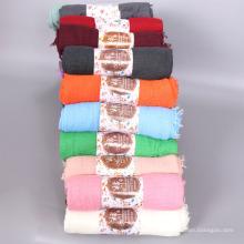 Высокое качество мусульманских женщин шарф шаль негабаритных хлопок рифленный хиджаб шарфы