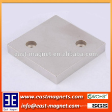 Separator Assenblies Block Neodymium Magnet with Double Countersunk Holes on opposite angles