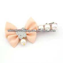 Bowknot de la muchacha de la manera con perlas del pelo de la perla Pins011051945