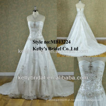 MB13224 Strapless Nail Beaded Lace Weeding Dress 2013