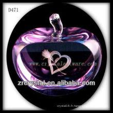 K9 3D Laser Love à l'intérieur de la pomme en cristal rose