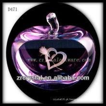 K9 3D Laser Amor Dentro De Rosa Cristal Maçã