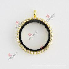 Rhinestone de oro redondo 30 mm de cristal de vida flotante encantos collar Locket Collar de joyería de moda