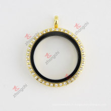 Rhinestone en or rond 30mm Glass Living Flottant Charms Locket Collier Ensemble bijoux fantaisie