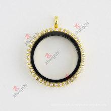 Золотой горный хрусталь круглый 30мм Стеклянные живые плавающие обереги Locket ожерелье Мода ювелирные изделия Set