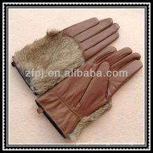 Guante de cuero de la mano de la piel del conejo de la señora guante