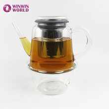 Promotional Christmas Gift Transparent Borosilicate Glass Teapot With Candle Heating